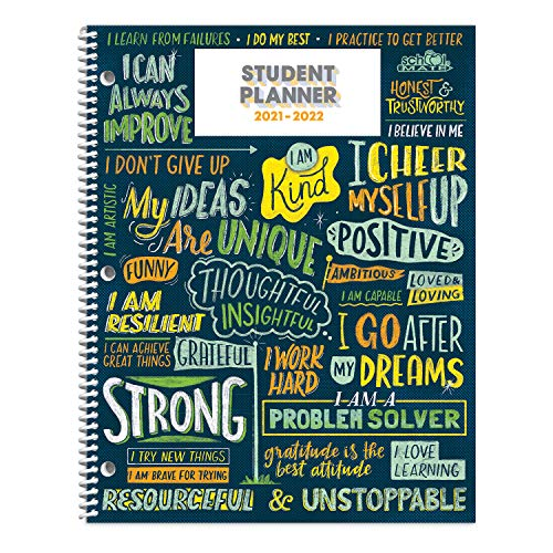"""Dated Middle School Student Planner for 2021-22 Academic Year, School Mate Brand, 8.5""""x11"""" Weekly Matrix Format"""