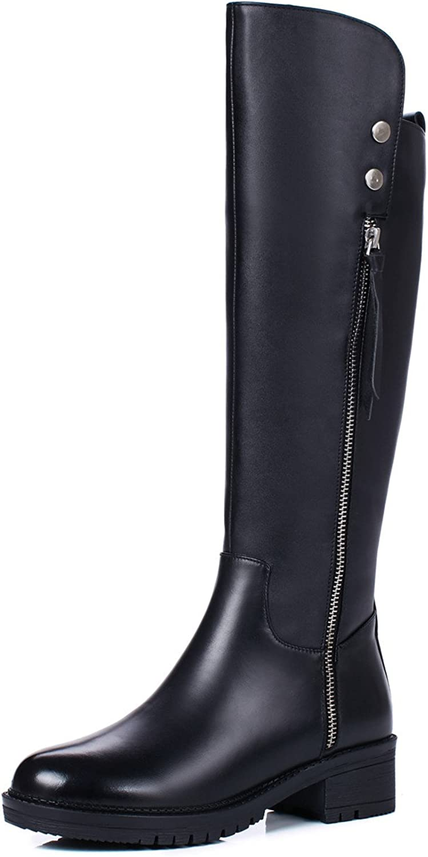 Nine Seven Genuine Leather Women's Round Toe Flat Heel Comfort Handmade Casual Knee High Boots