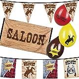 Neu: 34-TLG. Deko-Set * Sheriff * für Kindergeburtstag | Girlande + Wimpelkette + Fahne + Luftballons | Kinder Geburtstag Motto Party Wilder Westen Cowboy