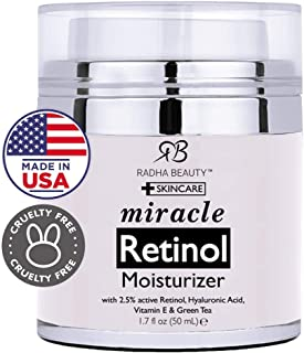 Radha Beauty Retinol Moisturizer Miracle Cream for Face - with Retinol, Hyaluronic Acid, Vitamin E and Green Tea. Best Night and Day Moisturizing Cream 1.7 fl oz.