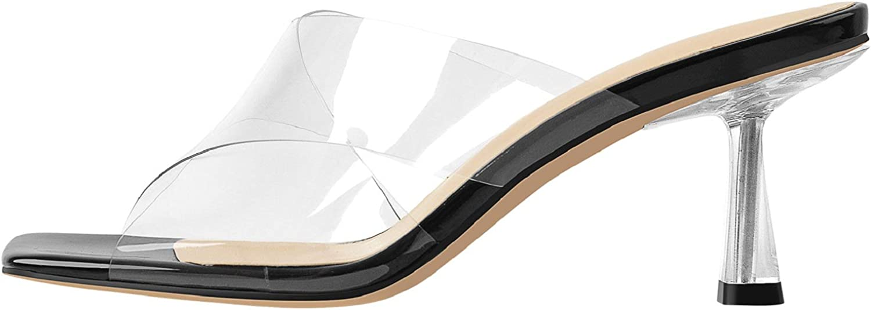 Richealnana Women's Clear Stiletto Heels Mules Styles Slip On Cross Strap Classic Party Square Toe Sandals
