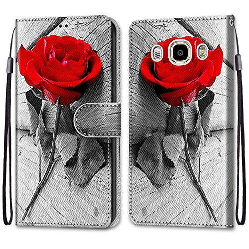 i-Case para Samsung J7 2016 Funda Cuero Patrón Cartera Carcasa Cierre Magnético Concha Interna de TPU Soporte Antigolpes PU Cuero Carcasa Libro Flip Case para Samsung Galaxy J7 2016 5.5',Rosa roja