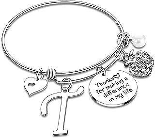 Teacher Bangles Gifts for Teacher Bracelets For Women Thank You Gifts Teachers Appreciation Gifts for Women Initial Bracelet