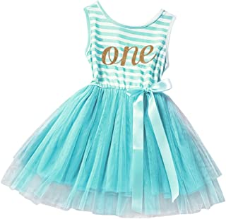 Little Baby Girl Shinny Stripe 1st/2nd Birthday Cake Smash Sleeveless Crown Printed Tulle Tutu Party Outfit Dress