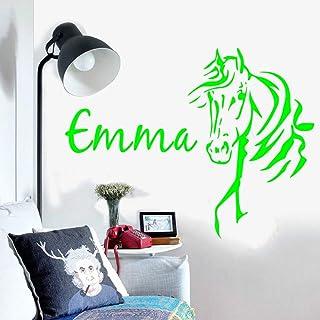 Tatuajes de pared Nombre personalizado Cabeza de caballo Nombre del cuarto del niño Habitación de los