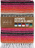 Zulay Home Authentic Mexican Blankets - Hand Woven Yoga Blanket & Outdoor Blanket - Artisanal Boho Blanket & Mexican Falsa Blanket for Beach, Picnic, Camping, or Home Throw Blanket (Pink Orange Sand)