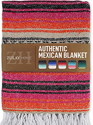 Zulay Home Authentic Mexican Blankets - Hand Woven Yoga Blanket & Outdoor Blanket - Artisanal Boho Blanket & Car Blanket for Beach, Picnic, Camping, or Home Throw Blanket (Pink Orange Sand)