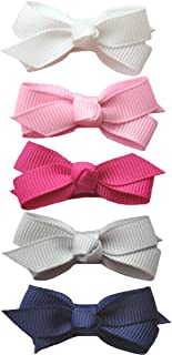 Baby Wisp 5 Grosgrain Boutique Hair Bows Baby Girls Toddlers - Prep Girl Gift Set