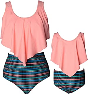 Qin.Orianna Mommy and Me Family Matching Swimsuit,Top and High Waist Bottom Suit