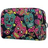 Colorful Sugar Skull Makeup Bag Travel Toiletry Bag, Water-Resistant Nylon