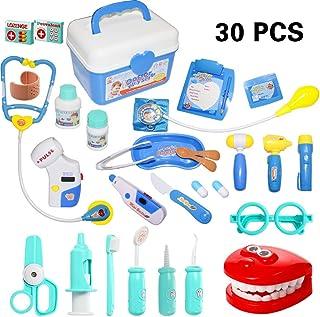 rainbowstone Doctor Kit de 30piezas Juego de rol, Play Kit de Doctor para niños bebés Niñas, médico Kit de juguete con estetoscopio electrónico