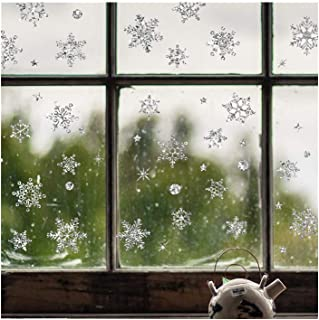 HHmei Christmas Restaurant Mall Decoration Snow Glass Window Removable Stickers Decorations Outdoor Tree Table Lights Blue Home Set Silver Wall Ornaments Party Cups White