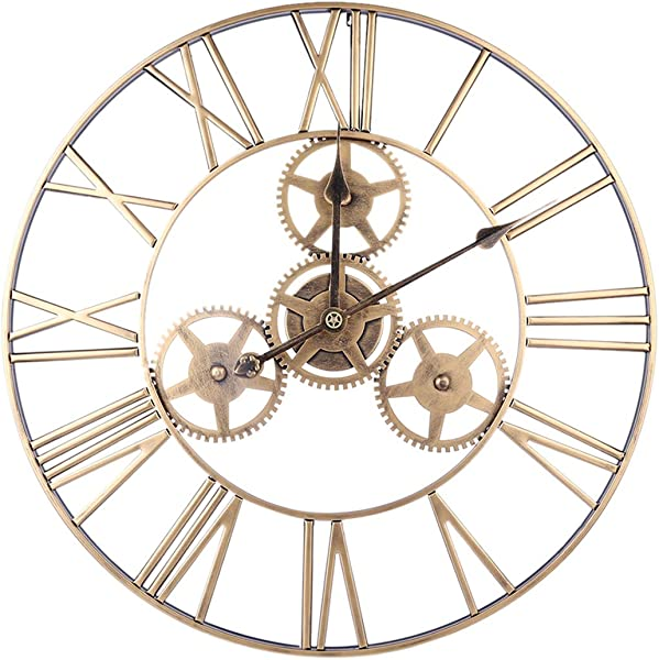 RuiyiF 24 Inch Silent Wall Clock Non Ticking Battery Operated With Gears Farmhouse Vintage Metal Clocks For Walls Large Decorative Living Room Bedroom Office Kitchen Gold