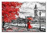 Berger Designs® - Premium Wandbild 'London' als Kunstdruck in verschiedenen Größen. Leinwandbild - Beste Qualität aus Deutschland (120 x 80 cm BxH, London)