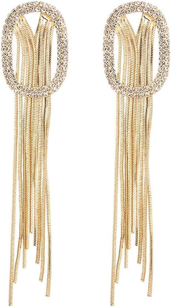 YAZILIND Long Tassel Chain Drop Earring Rhinestone Dangle Earrings Women Girls Ear Jewelry