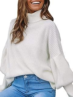 Women's Casual Loose Turtleneck Long Lantern Sleeve Knit Sweater Pullover Jumper Tops