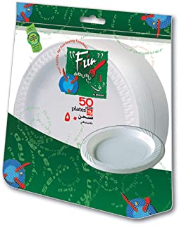 Fun® Everyday Disposable Plastic Plate set, Medium,18 cm, Pack of 50