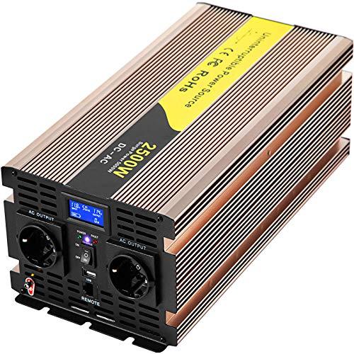 VEVOR Reiner Sinus Wechselrichter 2500 W, Spannungswandler 12V auf 220 V/230 V, Spitzenleistung mit LCD-Bildschirm & LED-Anzeigen, ideal für Schleifer, Sandstrahl, Stanzen, Jäten, Scannen, Nähmaschine