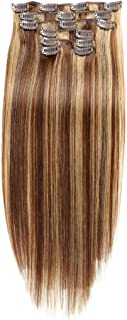 JIAMEISI Remy Hair Clip in Human Hair Extensions Double Weft Silky Straight Brazilian Human Hair Clips in Full Head 7Pcs/set 70g 18 inch #4/27 Medium brown/Dark Blonde