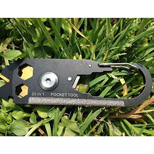 Calistouk Multi Function outils de combinaison, 20 en 1 EDC en acier inoxydable Tournevis à frapper Keychain Outil de poche kit Décapsuleur pour extérieur d'urgence de survie prolongée d'économie d'