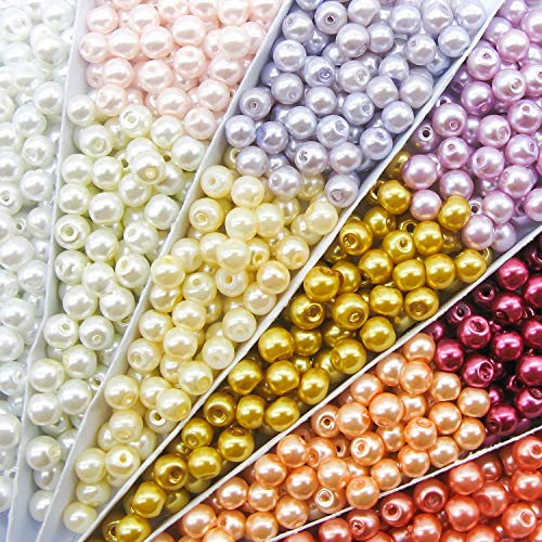 TOAOB 500pcs 6mm Glass Pearl Beads Assorted Colors Loose Spacer Beads Round Handcrafted Beads Assortments for DIY Crafts Jewelry Making Necklaces Bracelets