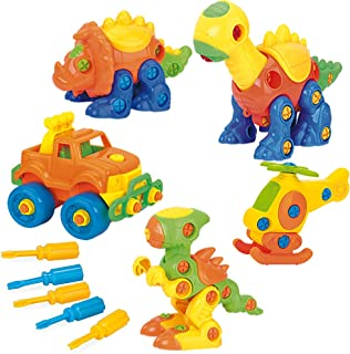 PUSITI Take Apart Toys 5 Pack Building Set 145 Pieces STEM Dinosaurs Helicopter Jeep Preschool Learning Construction Toys for Boys and Girls Engineering Kit for Toddlers DIY Toy for Kids