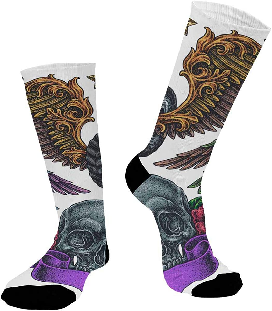 INTERESTPRINT Sublimated Hiking Dress Athletic Crew Socks Old School Flying Theme Tattoos