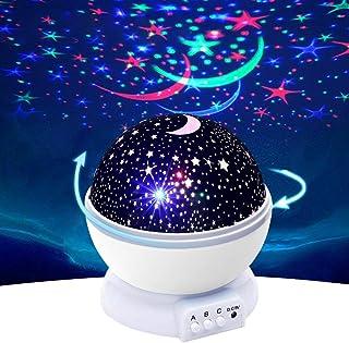 Lampe de nuit rotative à LED étoilée pour enfants, amis, amoureux pour offrir des cadeaux, 4 couleurs de lumière rotative ...