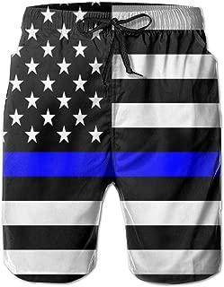 Blue Lives Matter Flag Men's Swim Trunks Fashion 3D Printed Beach Pants Breathable Light with Pocket Shorts