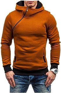 WUFAN Men's Hood Solid Pullover Fall Winter Warm Pullover Sweatshirt