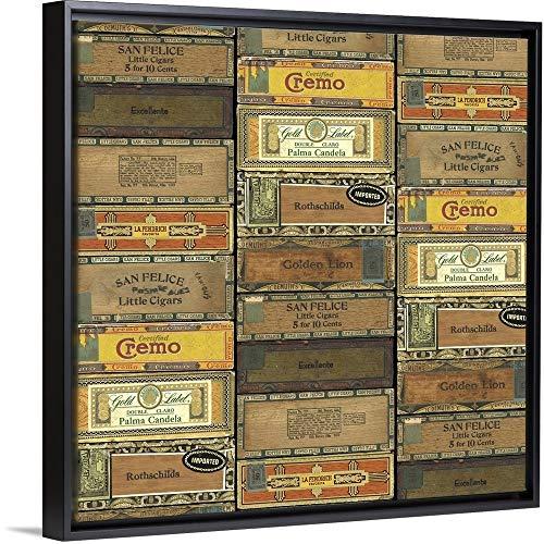 Cigar Boxes Black Float Frame Canvas Art, 22'x22'x1.75'