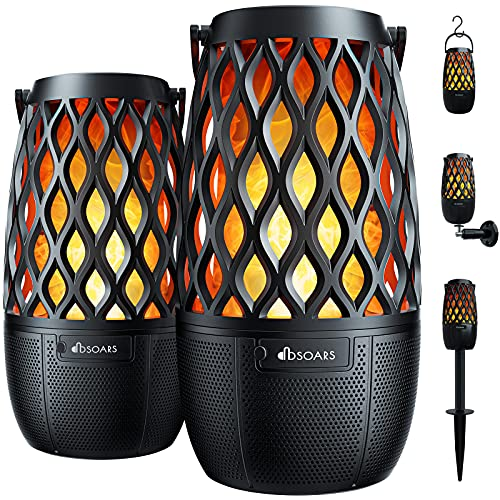 DBSOARS Torch Light Bluetooth Speaker, Outdoor/Indoor LED Flame Atmosphere Speaker, Sync Up to 100 Wireless Portable Speakers with Wall Mount&Stake&Hook, BT 5.0, Party/Yard/Patio/Gifts, 2 Pack