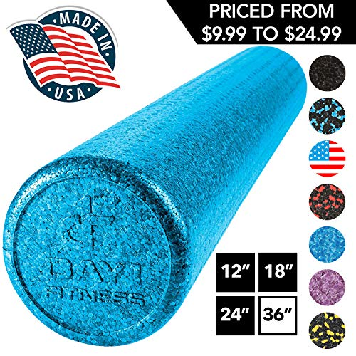 """High Density Muscle Foam Rollers by Day 1 Fitness - Sports Massage Rollers for Stretching, Physical Therapy, Deep Tissue, Myofascial Release - Ideal for Exercise and Pain Relief – Solid Blue, 36"""""""