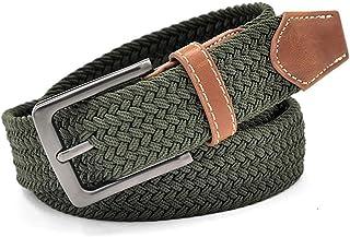 Correas YUHUS-Home Cinturón de Lona para Hombre Correa de la Raya para los Pantalones Vaqueros Equipo Doble Hebilla de Anillo Camuflaje Hombre Cinturones Estrella 100