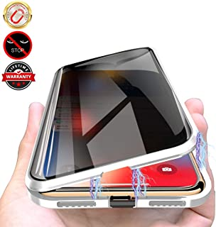 Privacy Magnetic Cases for iPhone 7plus/8plus, Anti Peeping Clear Double Sided Tempered Glass [Magnet Absorption Metal Bumper Frame] 360 Full Protective Phone Case for iPhone 7plus/8plus 5.5'' Silver