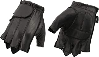 M Boss Motorcycle Apparel BOS37565 Mens Black Full Panel Leather Fingerless Glove with Gel Padded Palm - Large
