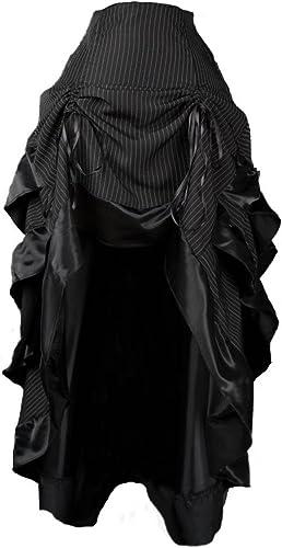 Dark Dreams Gothic Steampunk Burlesque Bustle Rock Skirt Pinstripe Nadelstreifen Neo Victorian, Größe M