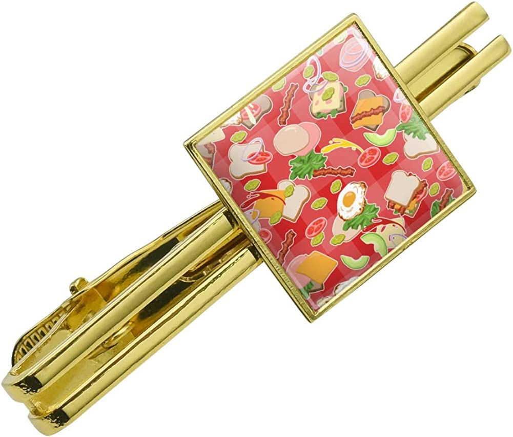GRAPHICS & MORE Messy Sandwich Pattern Bread Cheese Bacon Lettuce Egg Food Square Tie Bar Clip Clasp Tack Gold Color