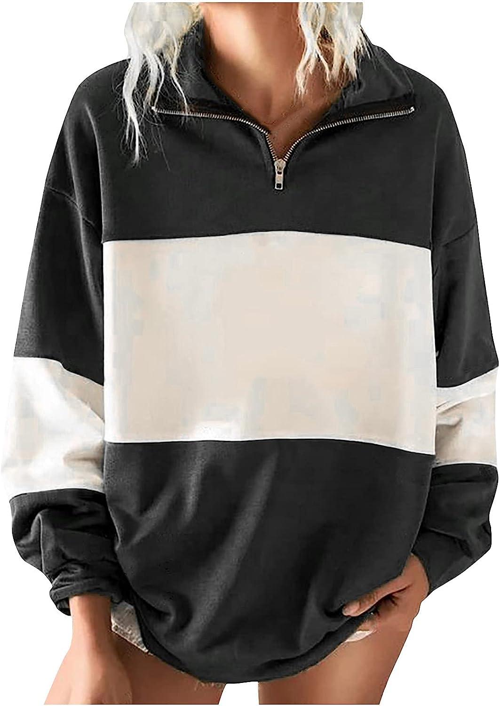 Women Casual Max 73% OFF Sweatshirt Detroit Mall Long Sleeve Pullover Quarter Tops Lapel