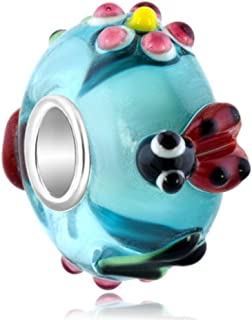 QueenCharms 925 Sterling Silver Red Lady Bug Murano Glass Charm for Bracelet