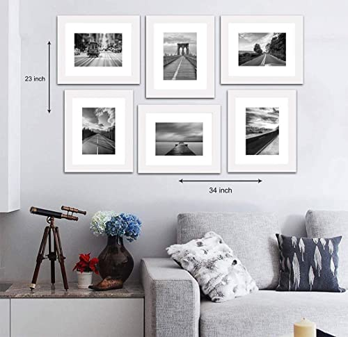 """Painting Mantra Decorative Premium Set of 6 Individual polymer Wall Photo Frame (8"""" X 10"""" picture size matted to 6"""" x..."""