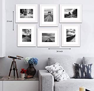"""Painting Mantra Decorative Premium Set of 6 Individual polymer Wall Photo Frame (8"""" X 10"""" picture size matted to 6"""" x 8"""")..."""