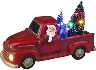Lightahead Musical Christmas Santa Truck Figurine with Colorful LED Light and 8 Melodies