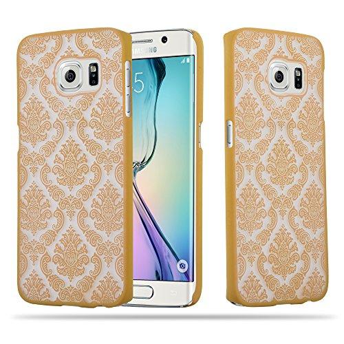 Preisvergleich Produktbild Cadorabo Hülle für Samsung Galaxy S6 Edge - Hülle in Gold Hardcase Handyhülle im Mandala Design - Schutzhülle Bumper Back Case Cover