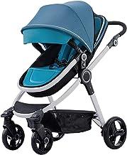WRJY Sistema de Viaje con Cochecito reclinable Convertible Silla de Paseo antichoque para bebés y niños pequeños con Marco de Aluminio Modo Ligero de Estar Sentado y acostado (Color: Azul)