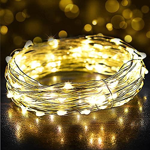 Guirnalda Luces 12M 120 LED, Luces de Navidad con Impermeable IP65 y USB Enchufe, Cadena de Luces y Luces de Hadas Decoración para Interior, Bodas, Fiesta, Jardín, Bodas, Compleaños, Arboles