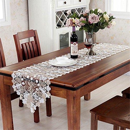 taixiuhome oro blanco y encaje de Floral bordado camino de mesa Home cuadro de gasa translúcido de banderas fiesta decoración de la boda, algodón mixto, dorado, 15.7 x 27.5 inches(40 x 70cm)