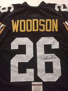 Autographed/Signed Rod Woodson Pittsburgh Black Football Jersey JSA COA