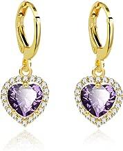 Anni Coco 18K Gold Plated Cubic Zirconia CZ Heart Drop Earrings Women Lady Girl Dangle Earrings For Gift Wedding Party