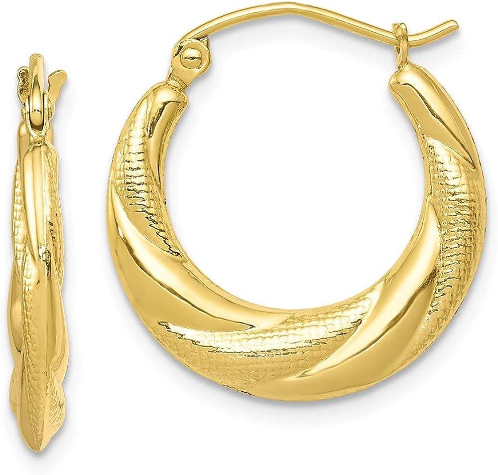 10K Yellow Gold Jewelry Shrimp Creole Earrings Atlanta Mall 20 mm 19 Popular overseas Textu
